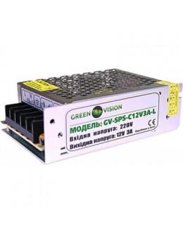Блок живлення для систем відеоспостереження GreenVision GV-SPS-C 12V3A-L (3447)
